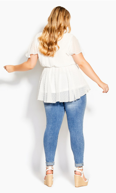 Spot Flutter Top - white