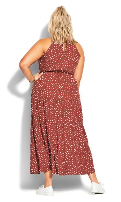 Tier Spot Maxi Dress - toffee