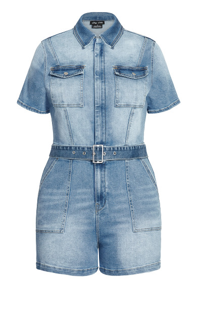 Denim Sleeve Playsuit - mid denim