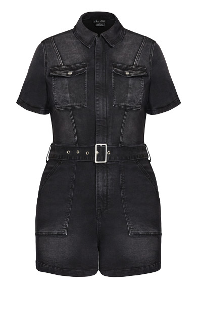 Denim Sleeve Playsuit - washed black
