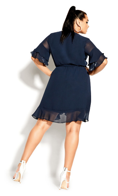 Flutter Frill Dress - navy