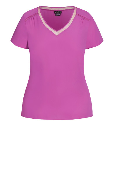 V Lace Trim Top - magenta