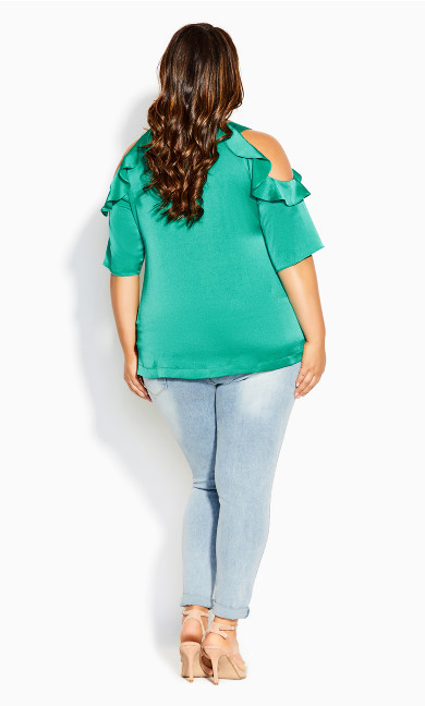 Frill Cold Shoulder Top - aqua
