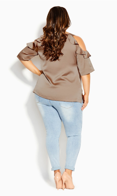 Frill Cold Shoulder Top - latte