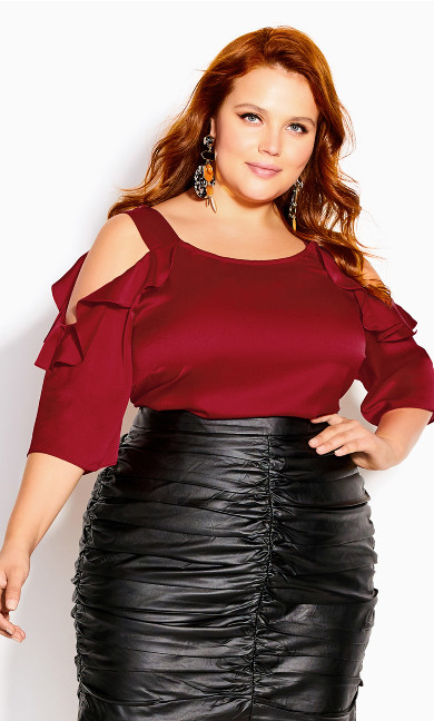 Frill Cold Shoulder Top - rouge