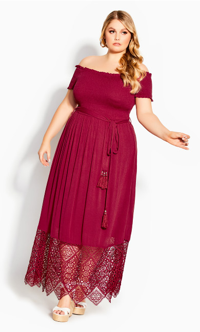Crochet Hem Maxi Dress - rhubarb