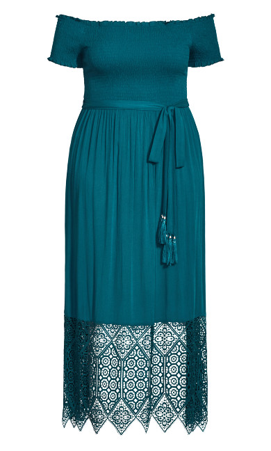 Crochet Hem Maxi Dress - teal