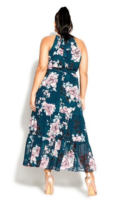 Halter Blossom Maxi Dress - jade