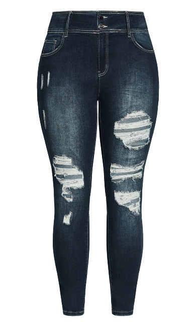 Asha Distressed Jean - dark wash