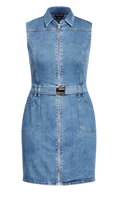 Sashay Away Dress - mid denim