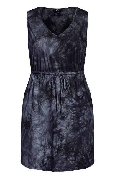 Tie Dye Dress - black