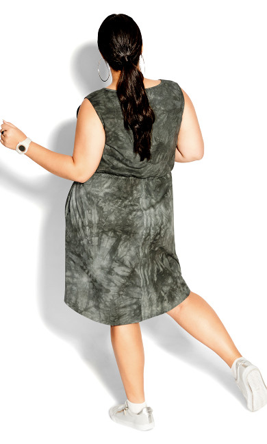 Tie Dye Dress - khaki