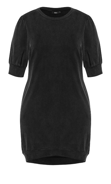 Acid Wash Dress - charcoal