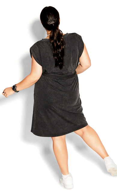Sharp Shoulder Dress - black