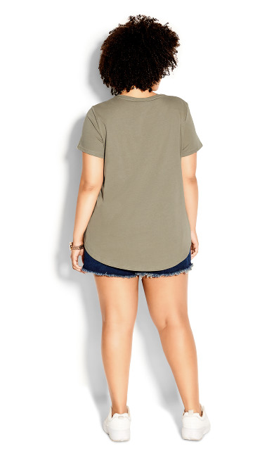 Stitch Up Tee - khaki