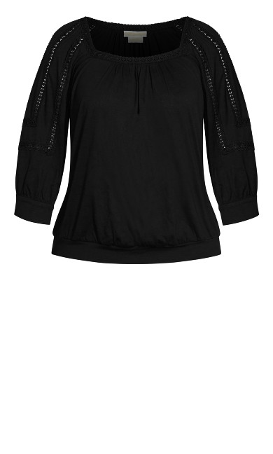 Enchanted Embroidered Top - black