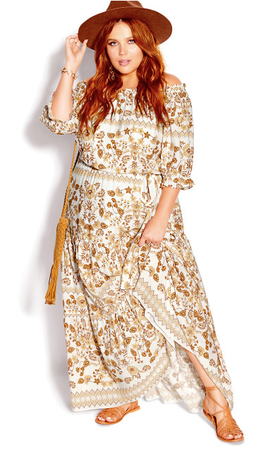 Nisha Gold Maxi Dress - ivory