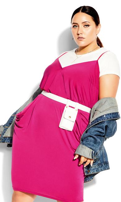 Luxe Drape Dress - shock pink