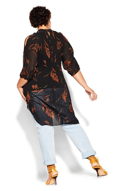 Leaf Floral Top - black