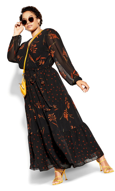Turning Leaves Maxi Dress - black
