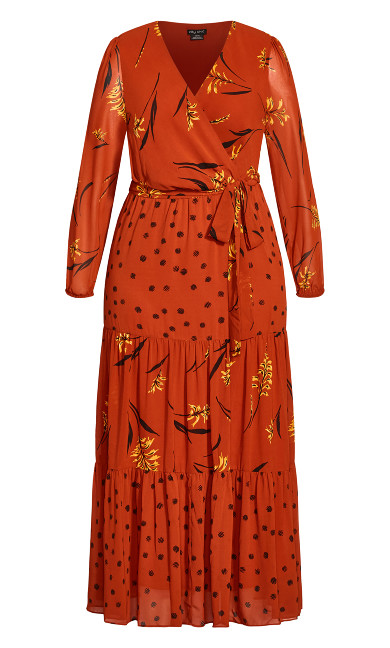 Turning Leaves Maxi Dress - rust