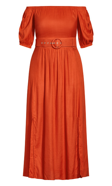 Ruffle Fling Dress - rust