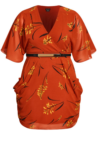 Leaf Floral Wrap Dress - rust