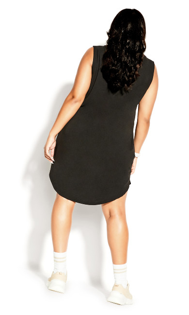 V Hoodie Dress - black