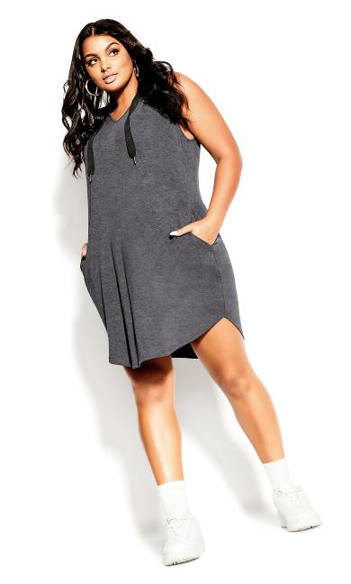 V Hoodie Dress - platinum