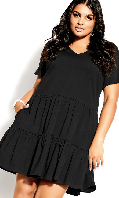 Social Tier Dress - black