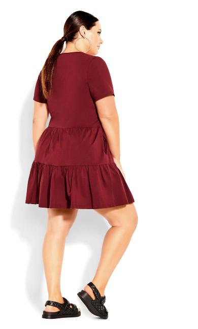 Social Tier Dress - dark cherry