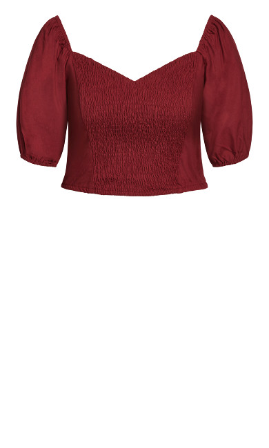 Shirred Dreams Top - pomegranate