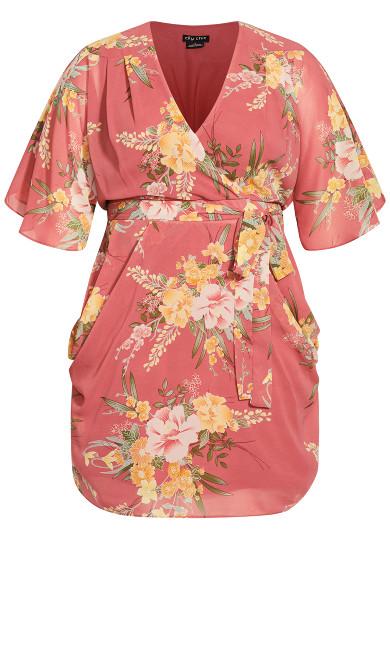 Grand Floral Dress - guava