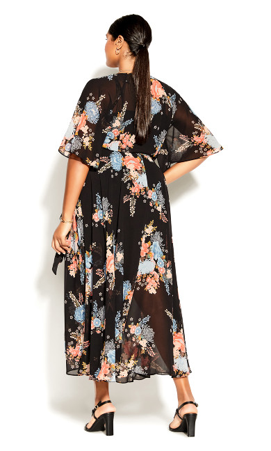 Poised Bloom Maxi Dress - black