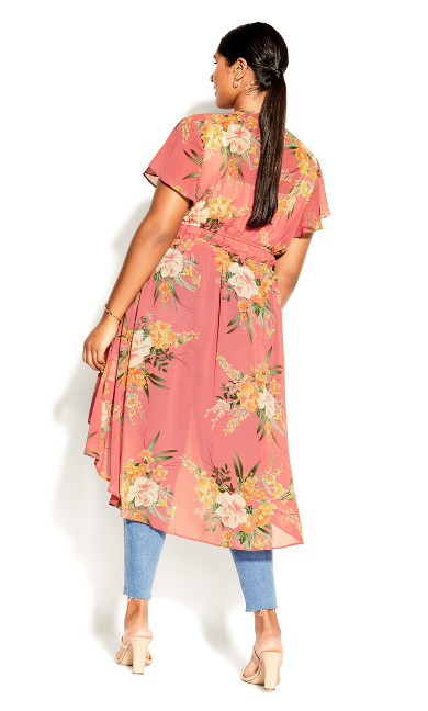 Grand Floral Jacket - guava
