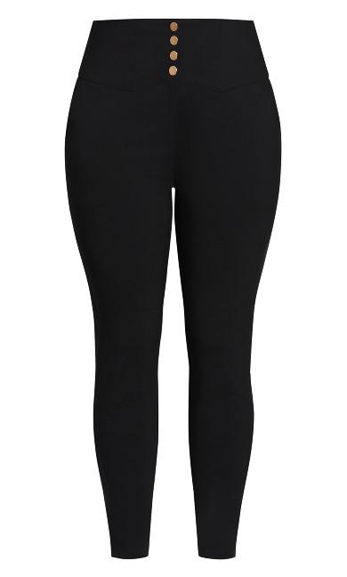 Poised Button Pant - black