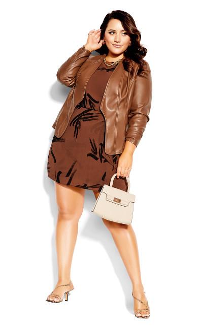 Swished Dress - cognac