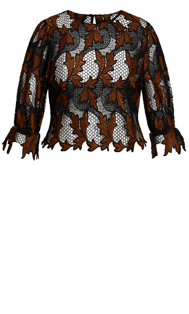 Luxe Lace Top - cognac
