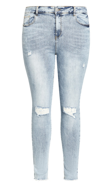 Asha Rip Hem Jean - light denim