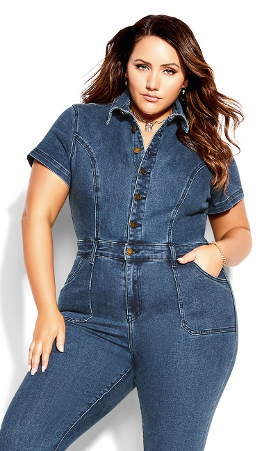 Denim Flare Jumpsuit - mid denim