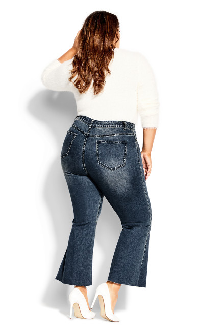 Harley Cropped Flare Jean - mid denim