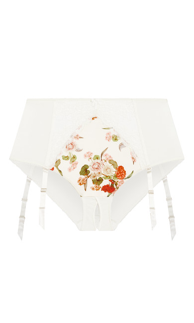 Amber Suspender Brief - ivory print