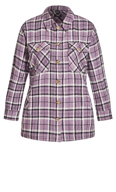 Check In Shacket - lilac check