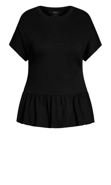 Relaxed Frill Top - black