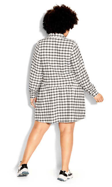 Youth Check Dress - black