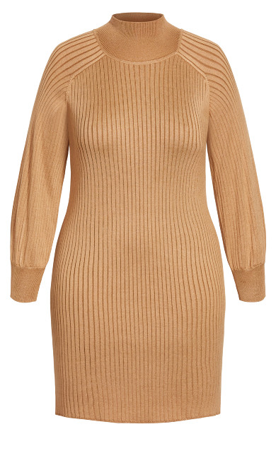 Balloon Knit Dress - caramel