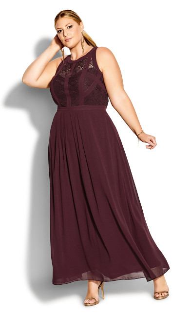 Panelled Bodice Maxi Dress - bordeaux