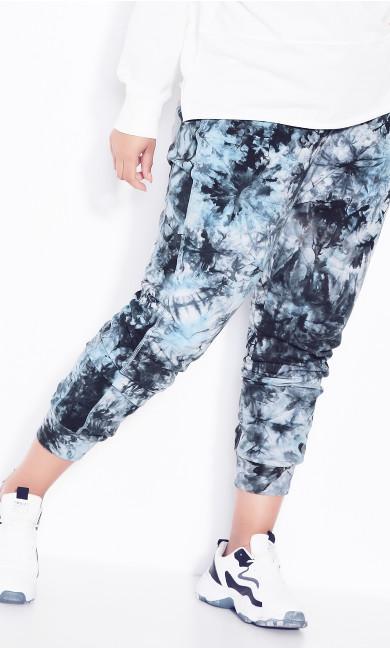 Plus Size Print Track Pant Blue Tie Dye