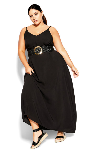 V Neck Maxi Dress - black