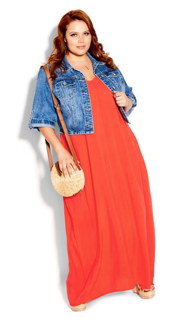 V Neck Maxi Dress - papaya